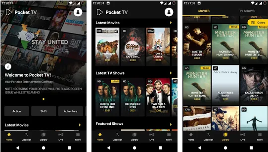 Pocket TV for Windows, PC and Mac OS